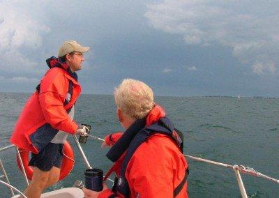 Brandon Buller sailing on Lake Erie